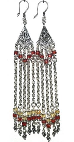 Sterling Silver Cubic Zirconia Chandelier Earrings 24 gr 12 cm