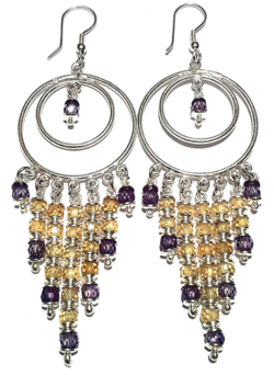 Sterling Silver Cubic Zirconia Chandelier Earrings 26 gr 10 cm