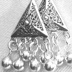 Full Sterling Silver Dangle Earrings 5 cm 6.5 gram