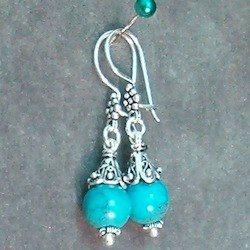 Sterling Silver Dangle Earrings block turquoise 4 cm