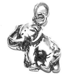 Sterling Silver Charm Pendant Elephant 17 mm 1.7 gram