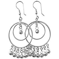 Full Sterling Silver Dangle Earrings 68 mm 12.8 gram