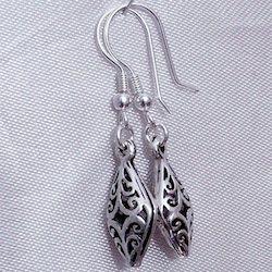 Full Sterling Silver Dangle Earrings 4 cm 3.1 gram