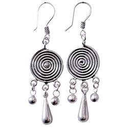 Full Sterling Silver Dangle Earrings 6 cm 7.8 gram