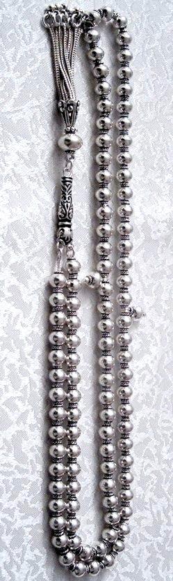 Full Sterling Silver Islamic Prayer Beads 99 Tasbih 69 gram