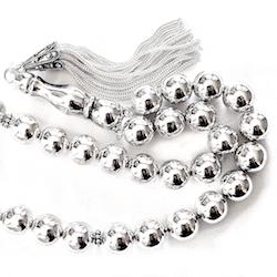 Full Sterling Silver Islamic Prayer Beads Tasbih 78 gram 38 cm