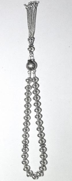 Full Sterling Silver Islamic Prayer Beads Tasbih 9 mm 39 gram
