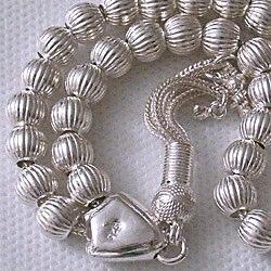 Full Sterling Silver Islamic Prayer Beads Tasbih 25 gram