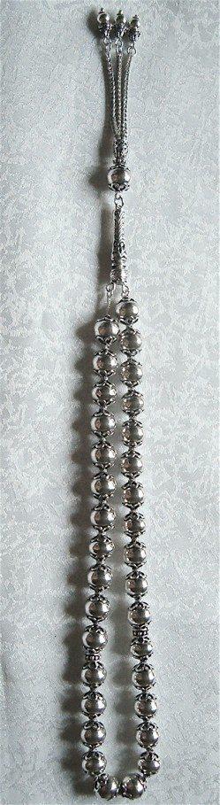Sterling Silver Islamic Prayer Beads Tasbih 83 gram 13 inch