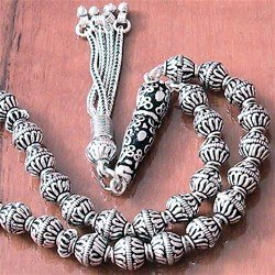 Full Sterling Silver Islamic Prayer Beads Tasbih 35 gram