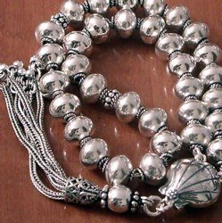 Full Sterling Silver Islamic Prayer Beads Tasbih 34 gram