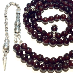 Islamic Prayer Beads 99 Tasbih Red Garnet 6 mm w/ antique silver chain