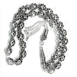 Full Sterling Silver Islamic Prayer Beads Tasbih 9 mm 42 gram