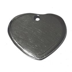 Sterling Silver Blank Label for Marking Heart Charm 20 mm 3.4 gram