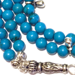 Islamic Prayer Beads 99 Howlite Tasbih silver tassel
