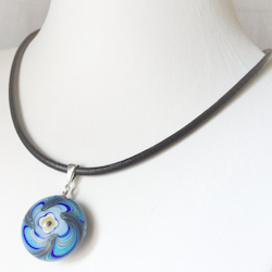 Turkish Murano Glass Evil Eye Silver and Leather Choker Necklace Blue