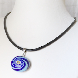 Turkish Murano Glass Evil Eye Silver and Leather Choker Necklace Blue Swirl