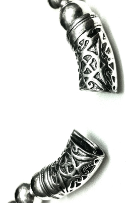 Full Sterling Silver Beaded Necklace 12 mm 86 gram 48 cm