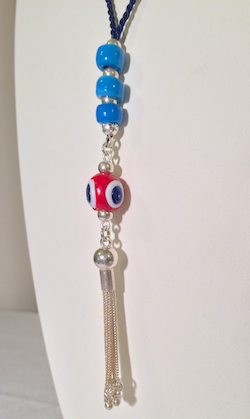 Turkish evil eye necklace with sterling silver tassel 85 cm