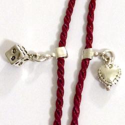 Turkish evil eye necklace with sterling silver tassel 85 cm