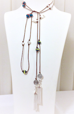 Turkish Evil Eye Lariat Necklace with Sterling Silver Tassels 155 cm