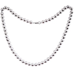 Full Sterling Silver Beaded Necklace 34.4 gram 18 inch