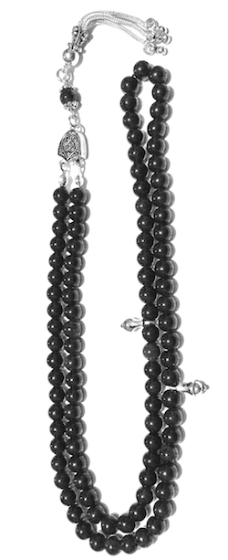 Islamic Prayer Beads 99 Tasbih Black Obsidian 6 mm w/ silver