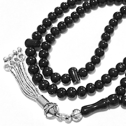 Turkish Black Amber Oltu Islamic Prayer Beads Tiny Tasbih w/silver