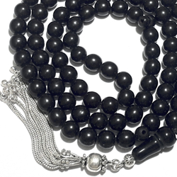Turkish Black Amber Oltu Islamic Prayer Beads 99 Tasbih 9 mm w/silver