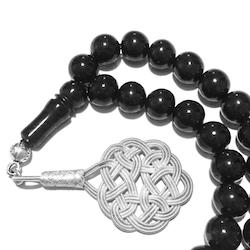 Turkish Black Amber Oltu Islamic Prayer Beads 9 mm Tasbih silver medallion