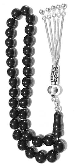Turkish Black Amber Oltu Islamic Prayer Beads Tasbih 8 mm w/silver