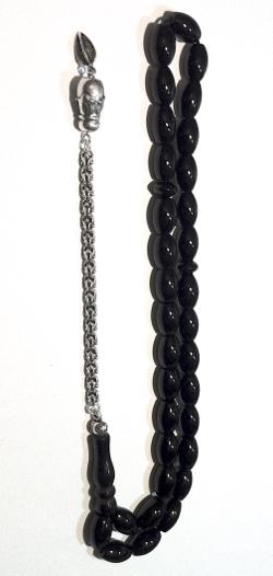 Islamic Prayer Beads Tasbih Onyx 12 mm oval w/ silver
