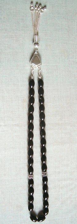 Quartz Onyx Islamic Prayer Beads Tasbih oval w/silver