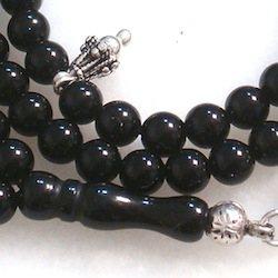 Islamic Prayer Beads 99 Tasbih Quartz Onyx 6 mm w/ silver