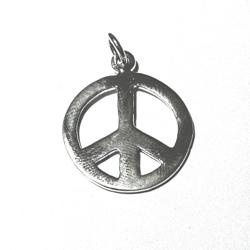 Sterling Silver Peace Charm Pendant 25 mm 2.9 gram