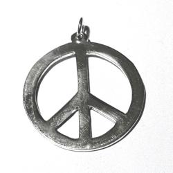 Sterling Silver Peace Charm Pendant 34 mm 5.1 gram