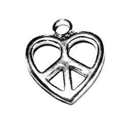 Sterling Silver Charm Pendant Heart and Peace 14 mm 1.6 gram