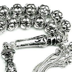 Full Sterling Silver Islamic Prayer Beads Tasbih 8 mm 51 gram