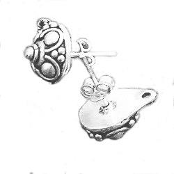 Pair of Sterling Silver Blank Post Stud Earrings 1 cm 3.6 gram