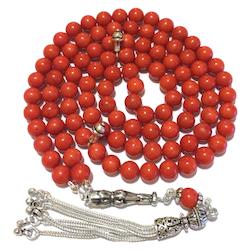 Islamic Prayer Beads 99 Namaz Tasbih Red Coral w/ silver 6 mm
