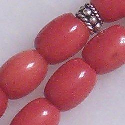 red coral prayer beads 9 mm tasbih w/silver