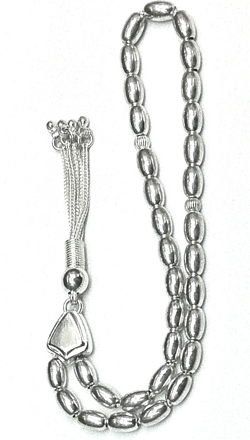 Islamic Prayer Beads Full Silver Tasbih oval 8 mm 19 gram