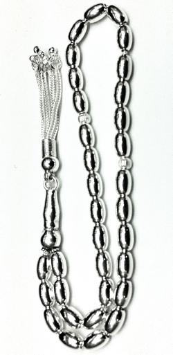 Islamic Prayer Beads Full Silver Tasbih oval 8 mm 20 gram