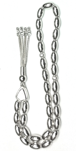 Islamic Prayer Beads Full Silver Tasbih oval 10 mm 32 gram