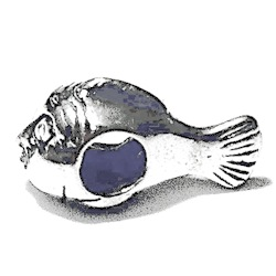 Sterling Silver Fish Rondelle Bead Spacer 16 mm 2.2 gram