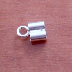 Sterling Silver Cord Rope End Double Fitting 3+3 mm 1 gram