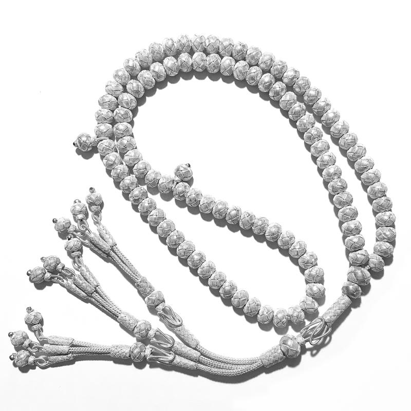 Turkish Pure Silver Mesh Islamic Prayer Beads 99 Tasbih 20 inch