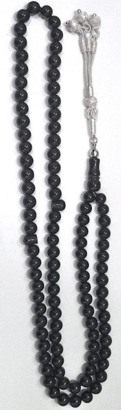 Turkish Black Amber Islamic Prayer Beads Tasbih 99 Silver Mesh Scourge