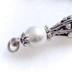 Sterling Silver Tassel Seashell Pearl 6 cm
