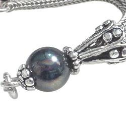 Sterling Silver Tassel Seashell Pearl Black 6 cm